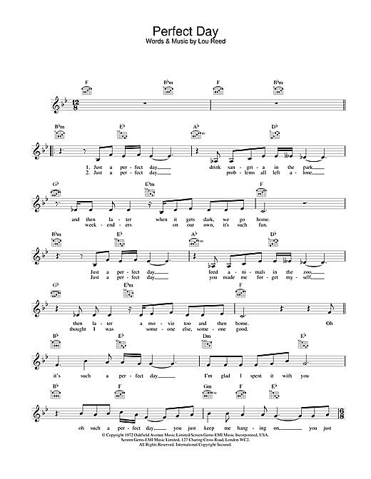 Lou Reed Perfect Day sheet music notes printable PDF score