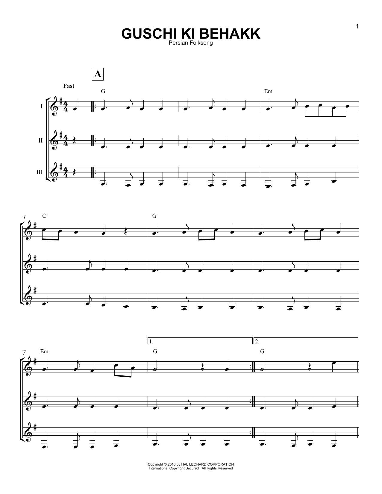 Persian Folksong Guschi Ki Behakk sheet music notes and chords - download printable PDF.