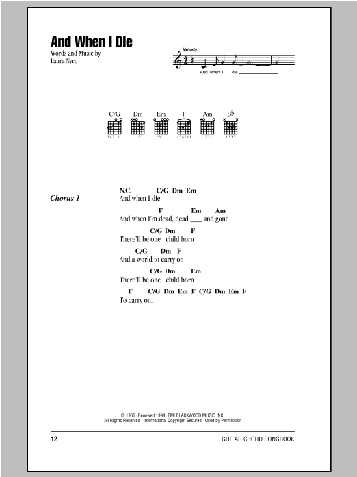 Peter, Paul & Mary And When I Die sheet music notes and chords. Download Printable PDF.