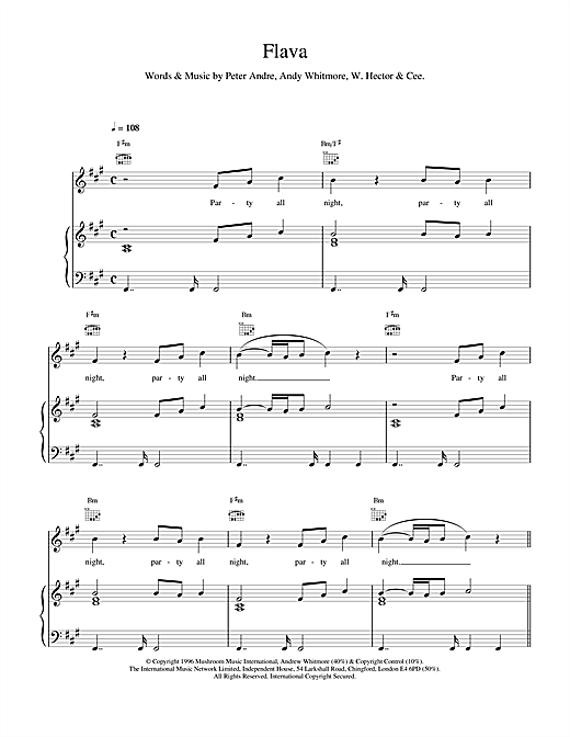 Peter Andre Flava sheet music notes printable PDF score