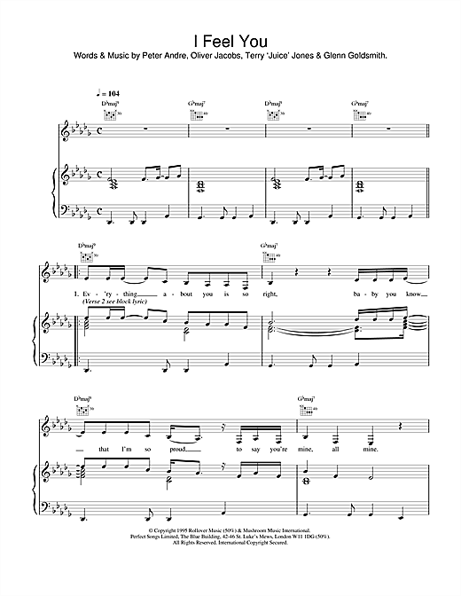 Peter Andre I Feel You sheet music notes printable PDF score