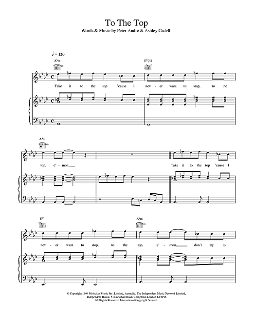 Peter Andre To The Top sheet music notes printable PDF score