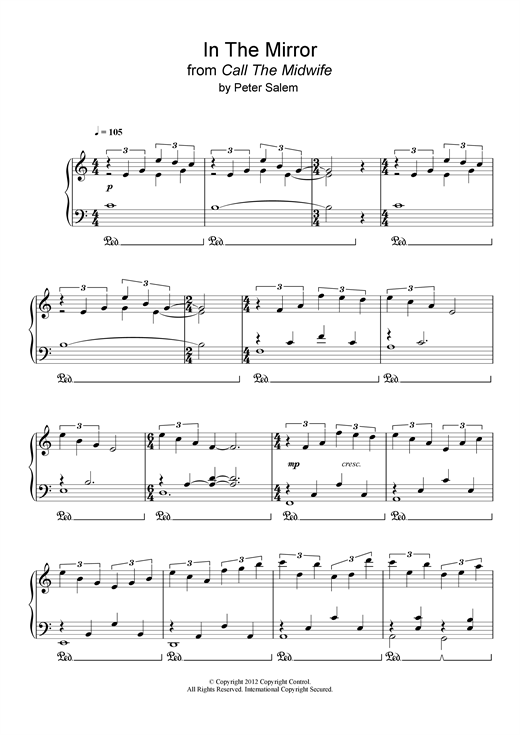 Peter Salem In The Mirror (from 'Call The Midwife') sheet music notes and chords - download printable PDF.