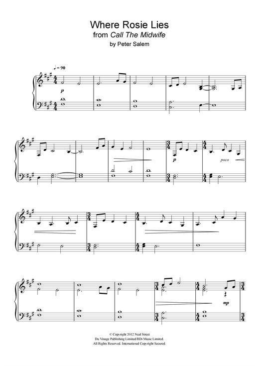 Peter Salem Where Rosie Lies (from 'Call The Midwife') sheet music notes and chords - download printable PDF.