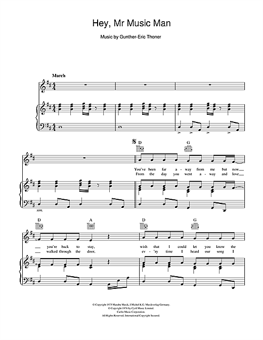 Peters & Lee Hey, Mr Music Man sheet music notes and chords. Download Printable PDF.