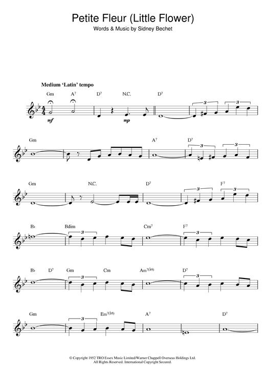 Sidney Bechet Petite Fleur (Little Flower) sheet music notes printable PDF score