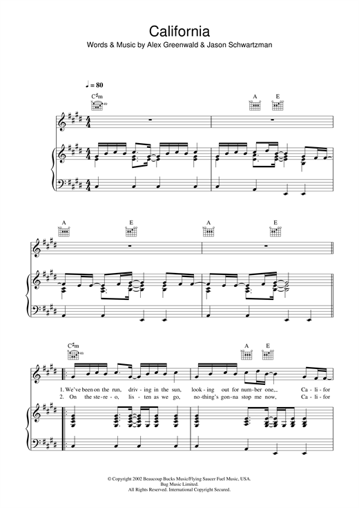 Phantom Planet California (theme from The OC) sheet music notes printable PDF score