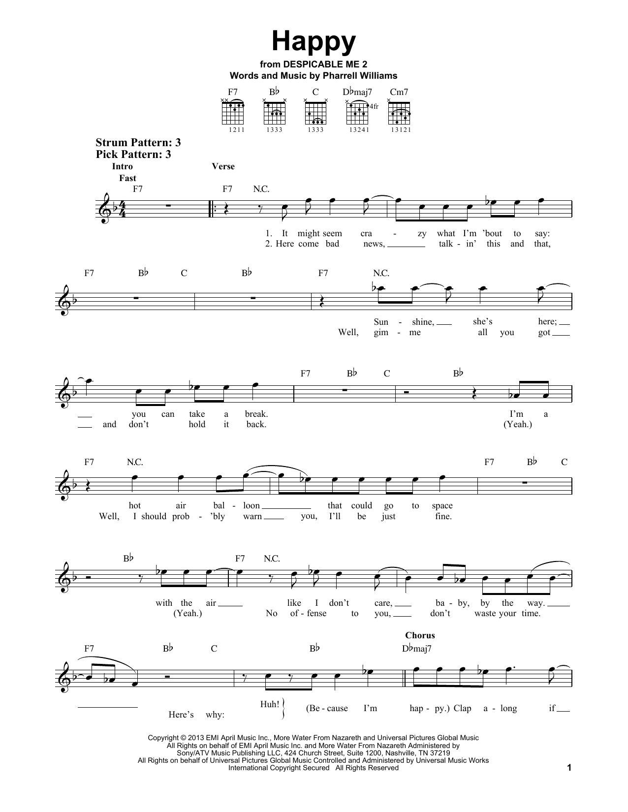 Pharrell Happy sheet music notes and chords. Download Printable PDF.