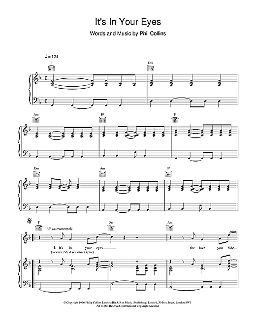 Phil Collins It's In Your Eyes sheet music notes printable PDF score