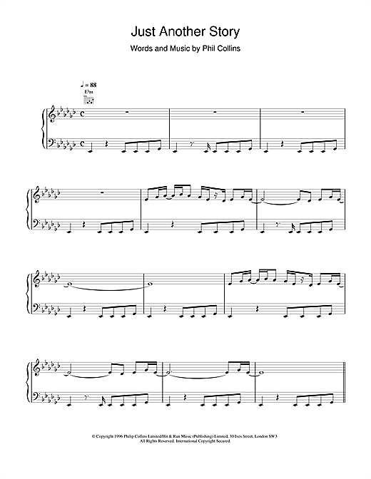 Phil Collins Just Another Story sheet music notes printable PDF score