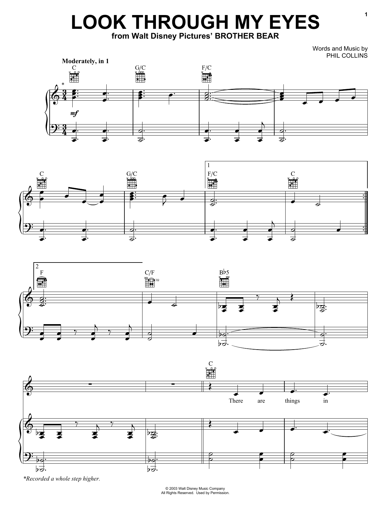 Phil Collins Look Through My Eyes sheet music notes and chords. Download Printable PDF.