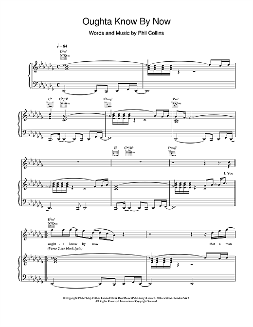 Phil Collins Oughta Know By Now sheet music notes printable PDF score