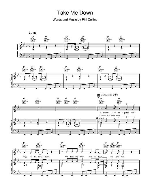 Phil Collins Take Me Down sheet music notes printable PDF score