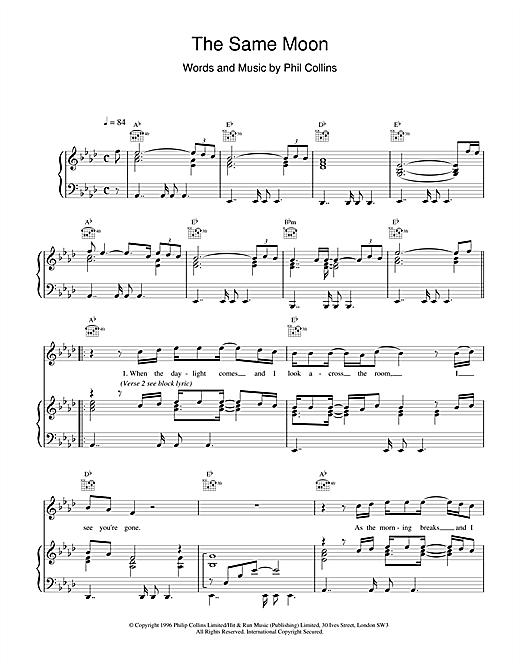 Phil Collins The Same Moon sheet music notes printable PDF score