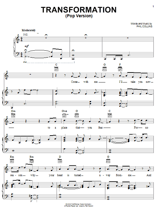 Phil Collins Transformation (Pop Version) sheet music notes and chords. Download Printable PDF.