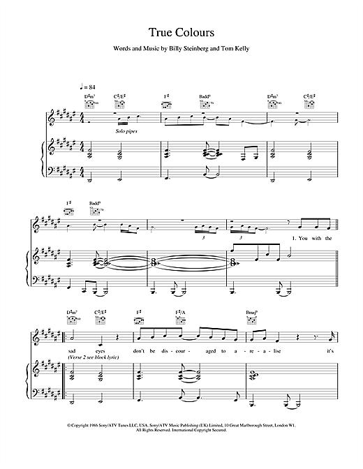 Phil Collins True Colours sheet music notes printable PDF score
