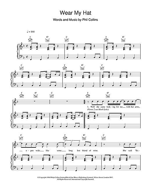 Phil Collins Wear My Hat sheet music notes printable PDF score
