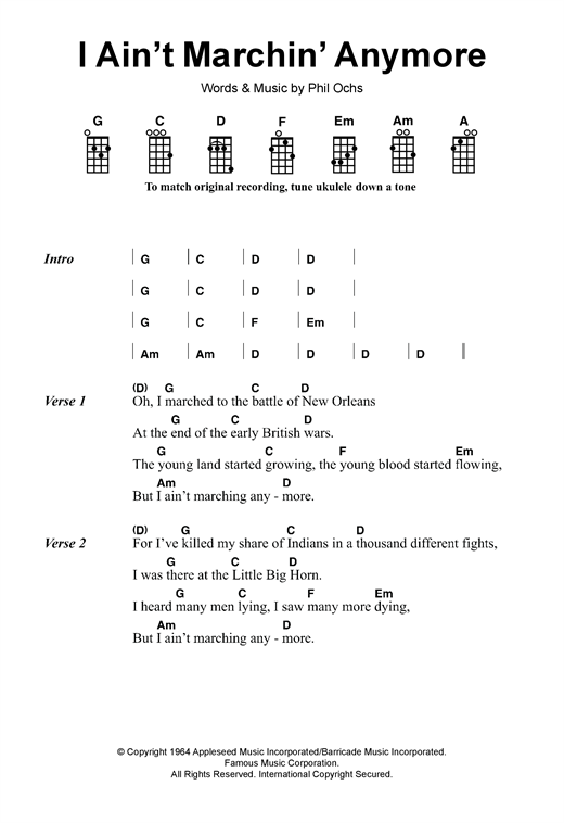 Phil Ochs I Ain't Marchin' Anymore sheet music notes and chords - download printable PDF.
