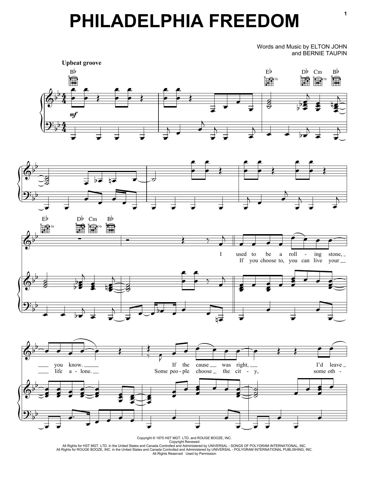 Elton John Philadelphia Freedom sheet music notes printable PDF score