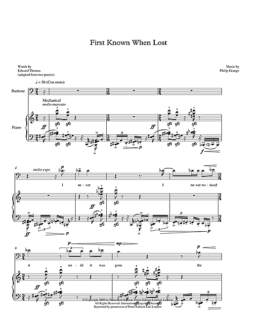 Philip Grange First Known When Lost (for baritone & piano) sheet music notes printable PDF score