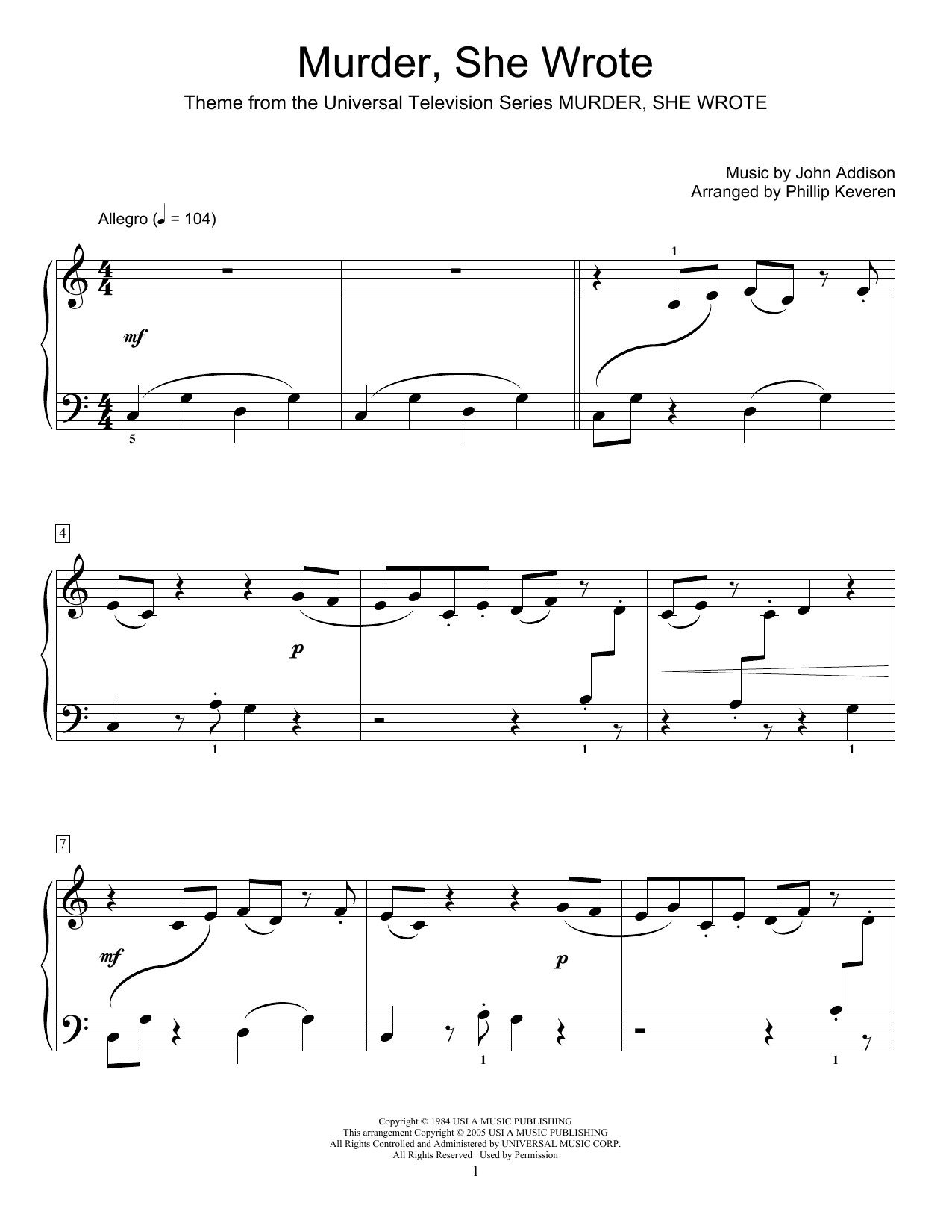 Phillip Keveren Murder, She Wrote sheet music notes and chords. Download Printable PDF.