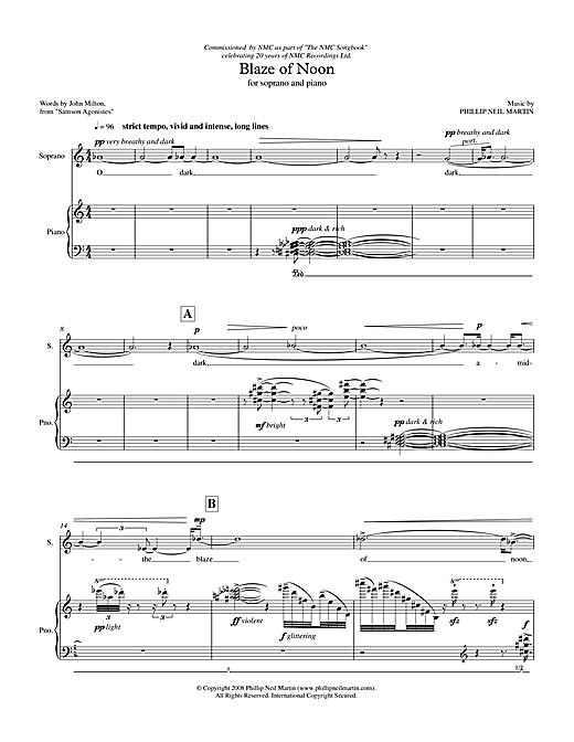 Phillip Neil Martin Blaze of Noon (for soprano & piano) sheet music notes printable PDF score