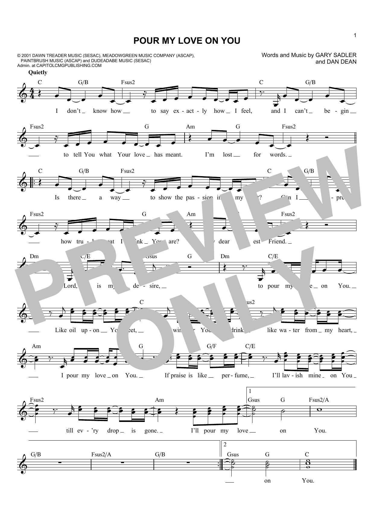 Phillips, Craig and Dean Pour My Love On You sheet music notes and chords. Download Printable PDF.