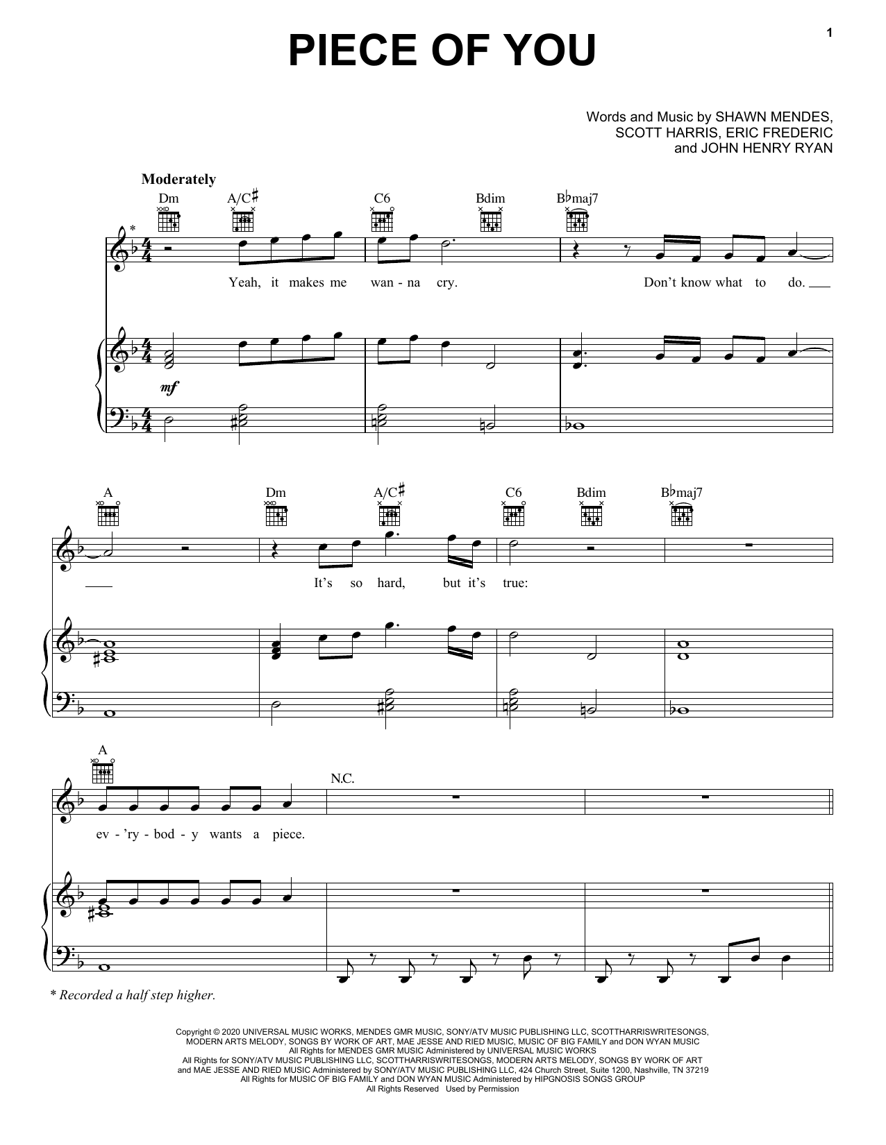 Shawn Mendes Piece Of You sheet music notes printable PDF score