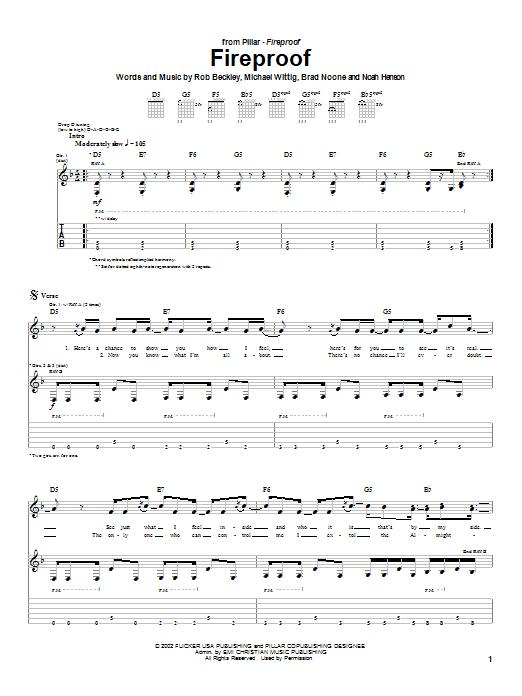 Pillar Fireproof sheet music notes printable PDF score