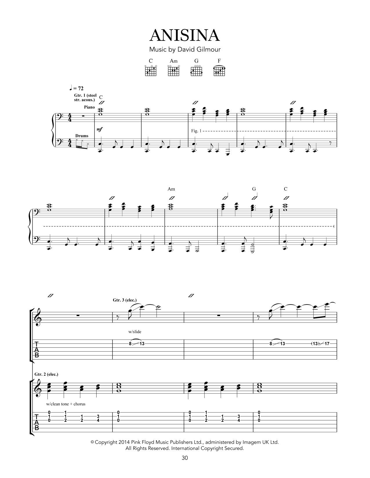 Pink Floyd Anisina sheet music notes and chords - download printable PDF.