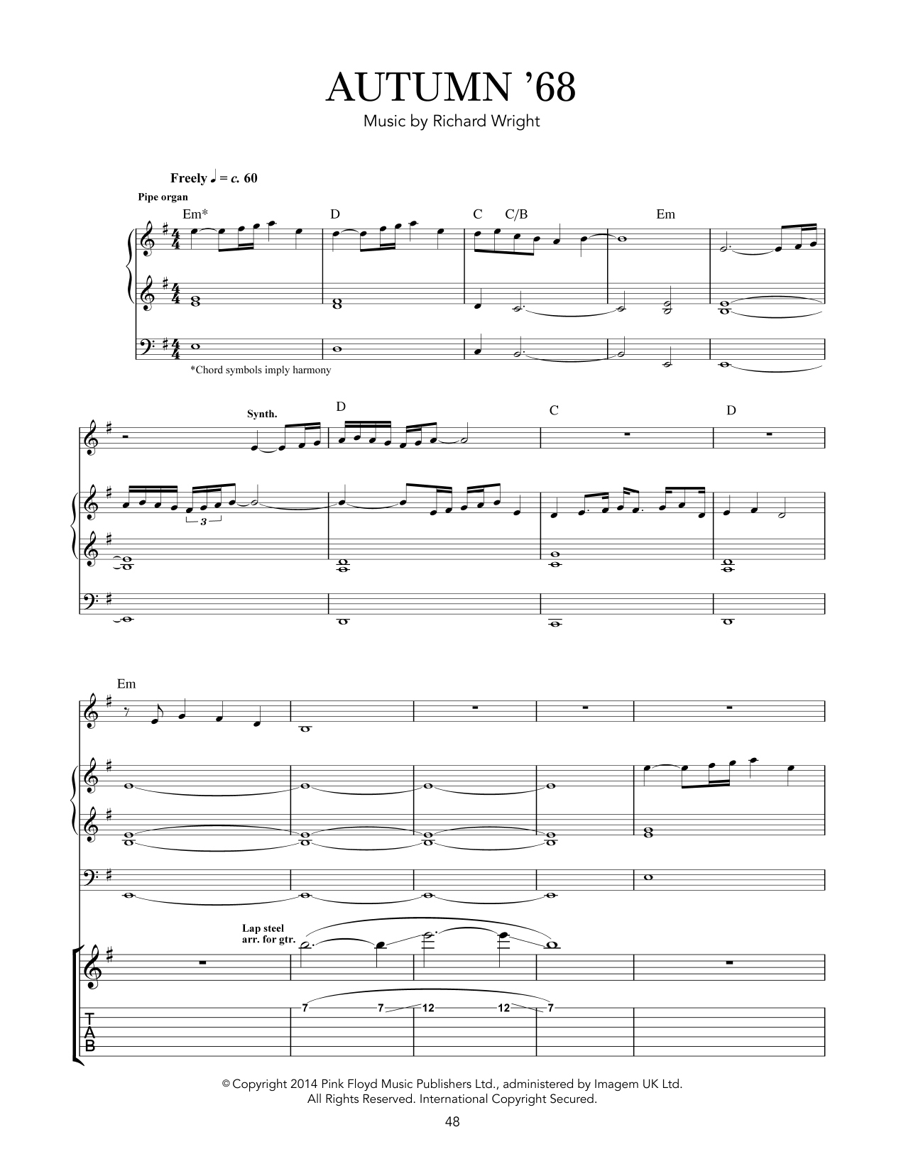 Pink Floyd Autumn '68 sheet music notes and chords - download printable PDF.