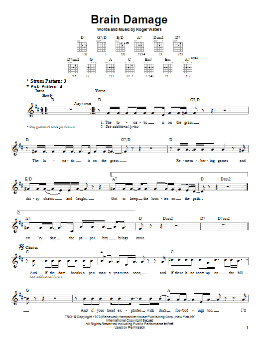 Pink Floyd Brain Damage sheet music notes and chords. Download Printable PDF.