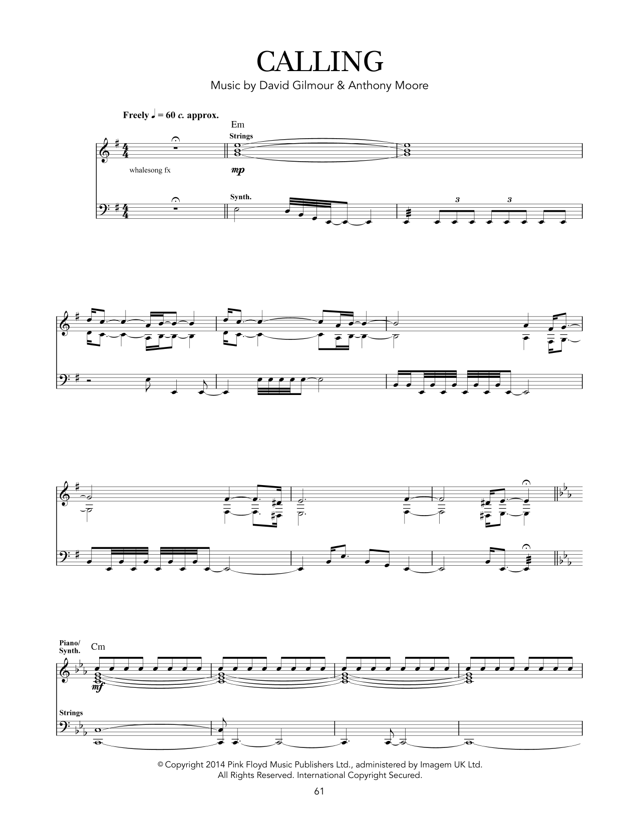 Pink Floyd Calling sheet music notes and chords - download printable PDF.