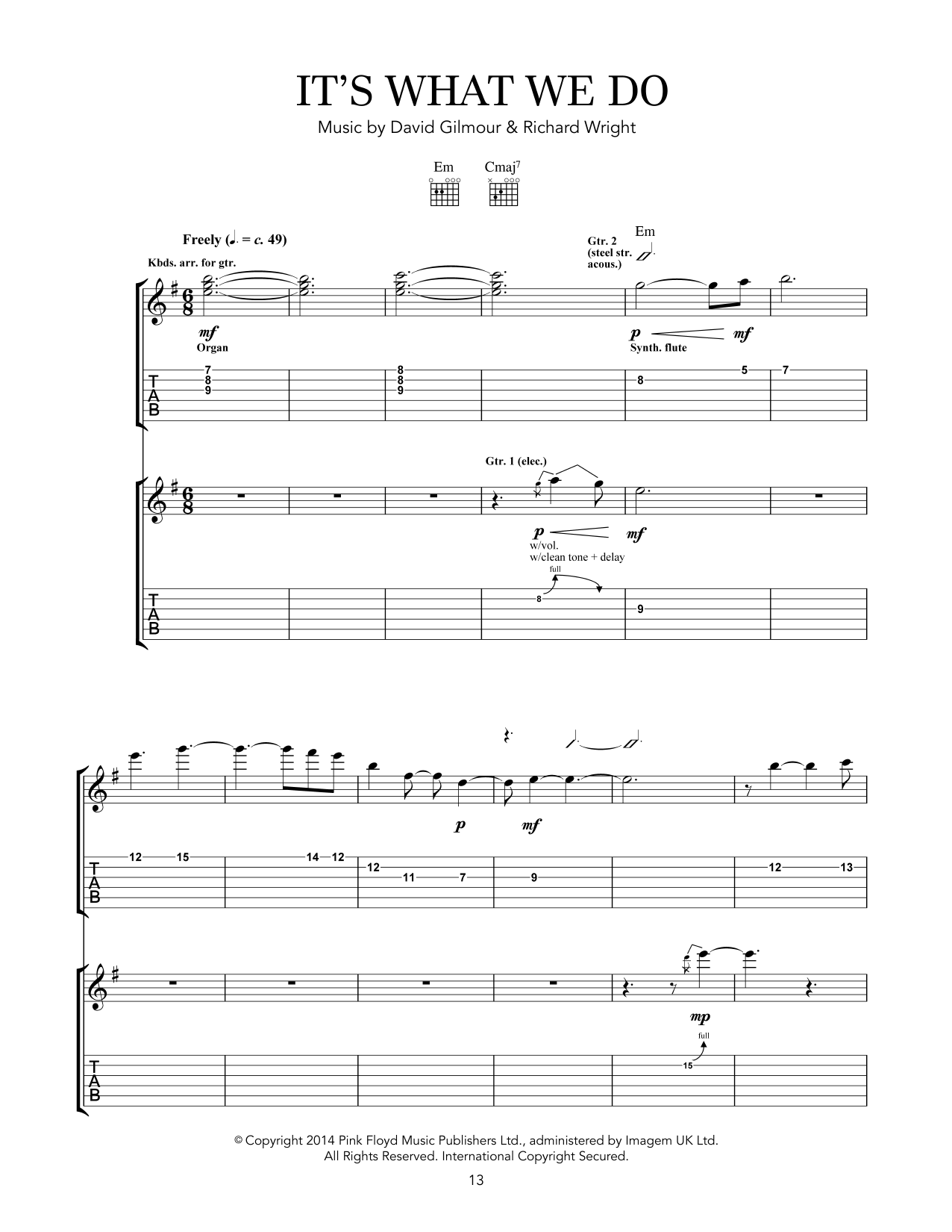 Pink Floyd It's What We Do sheet music notes and chords. Download Printable PDF.
