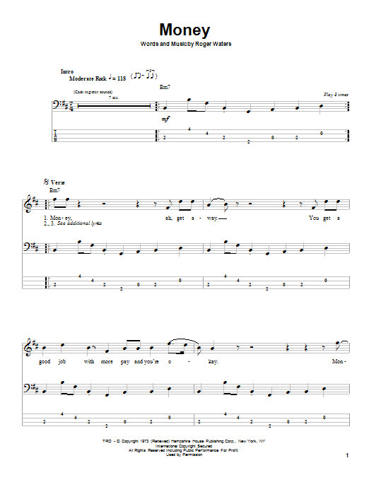 Pink Floyd Money sheet music notes and chords. Download Printable PDF.