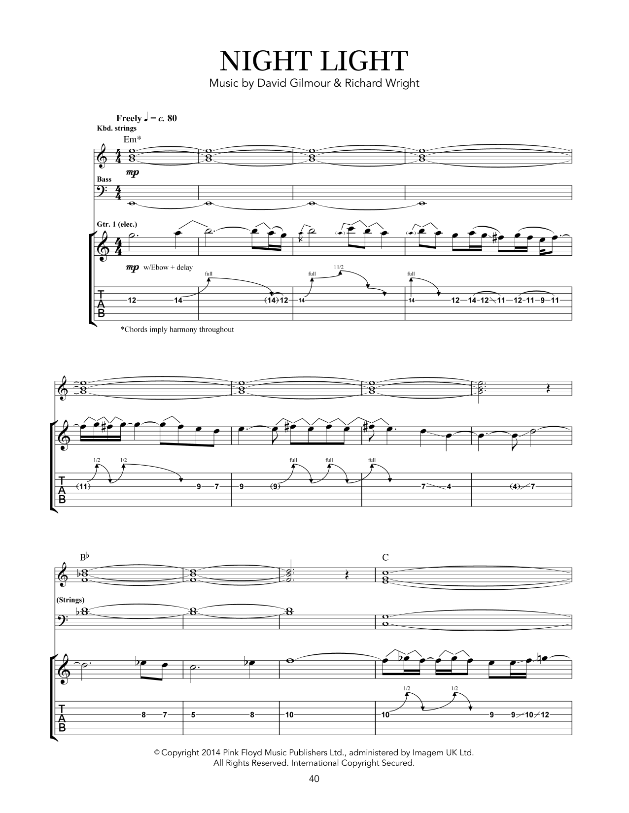 Pink Floyd Night Light sheet music notes and chords - download printable PDF.