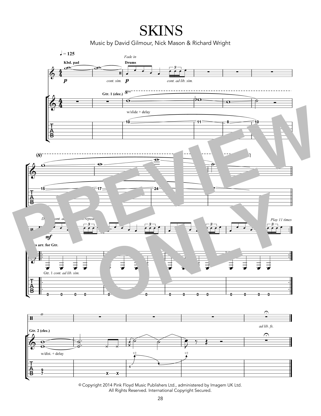 Pink Floyd Skins sheet music notes and chords. Download Printable PDF.