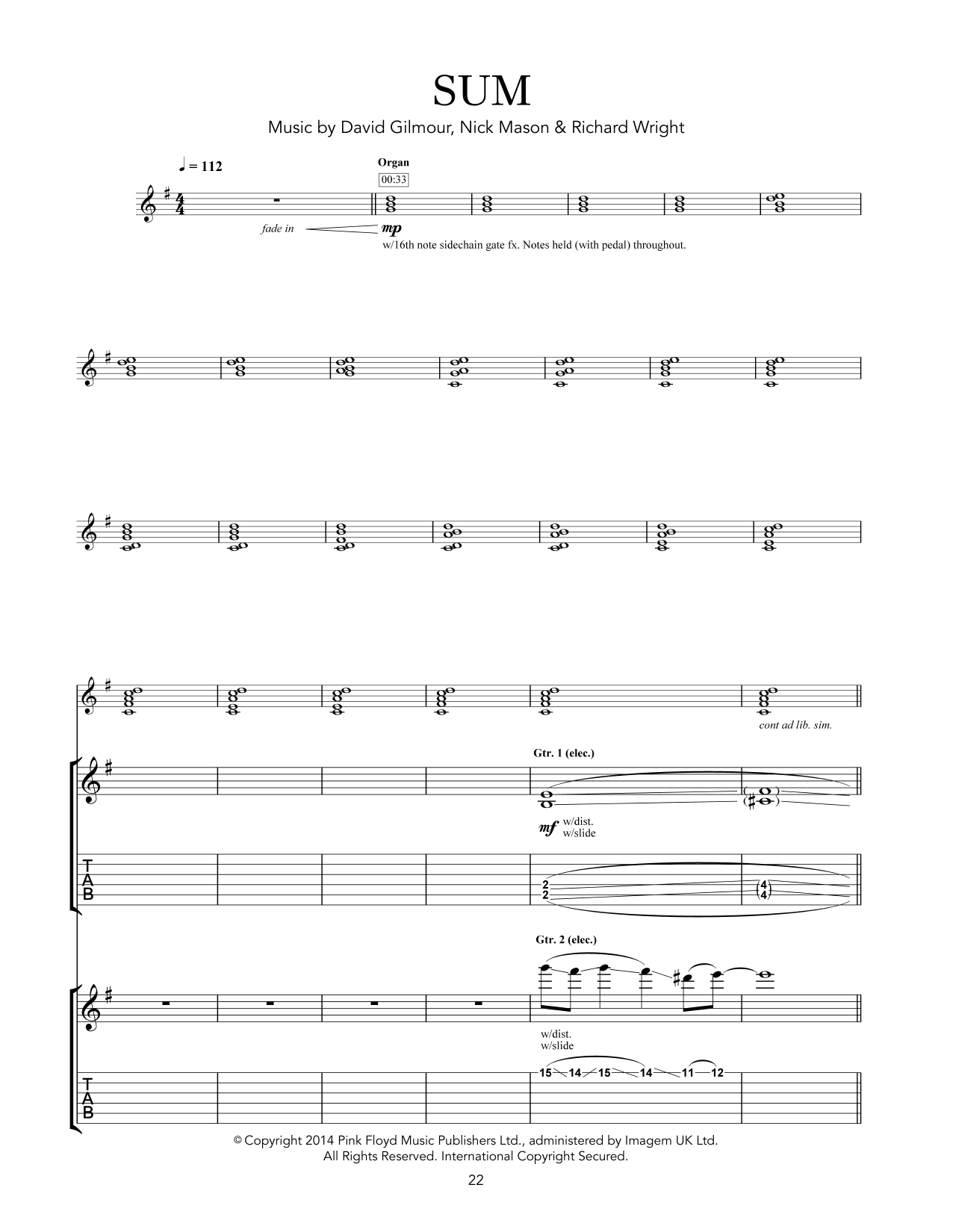 Pink Floyd Sum sheet music notes and chords. Download Printable PDF.