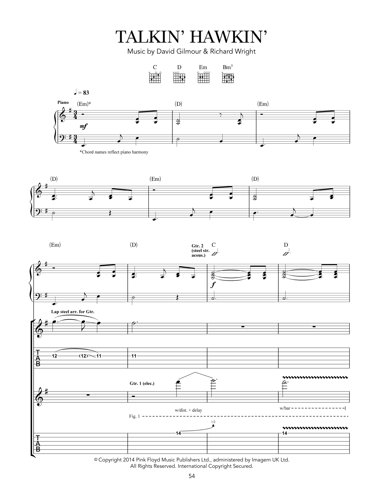 Pink Floyd Talkin' Hawkin' sheet music notes and chords. Download Printable PDF.