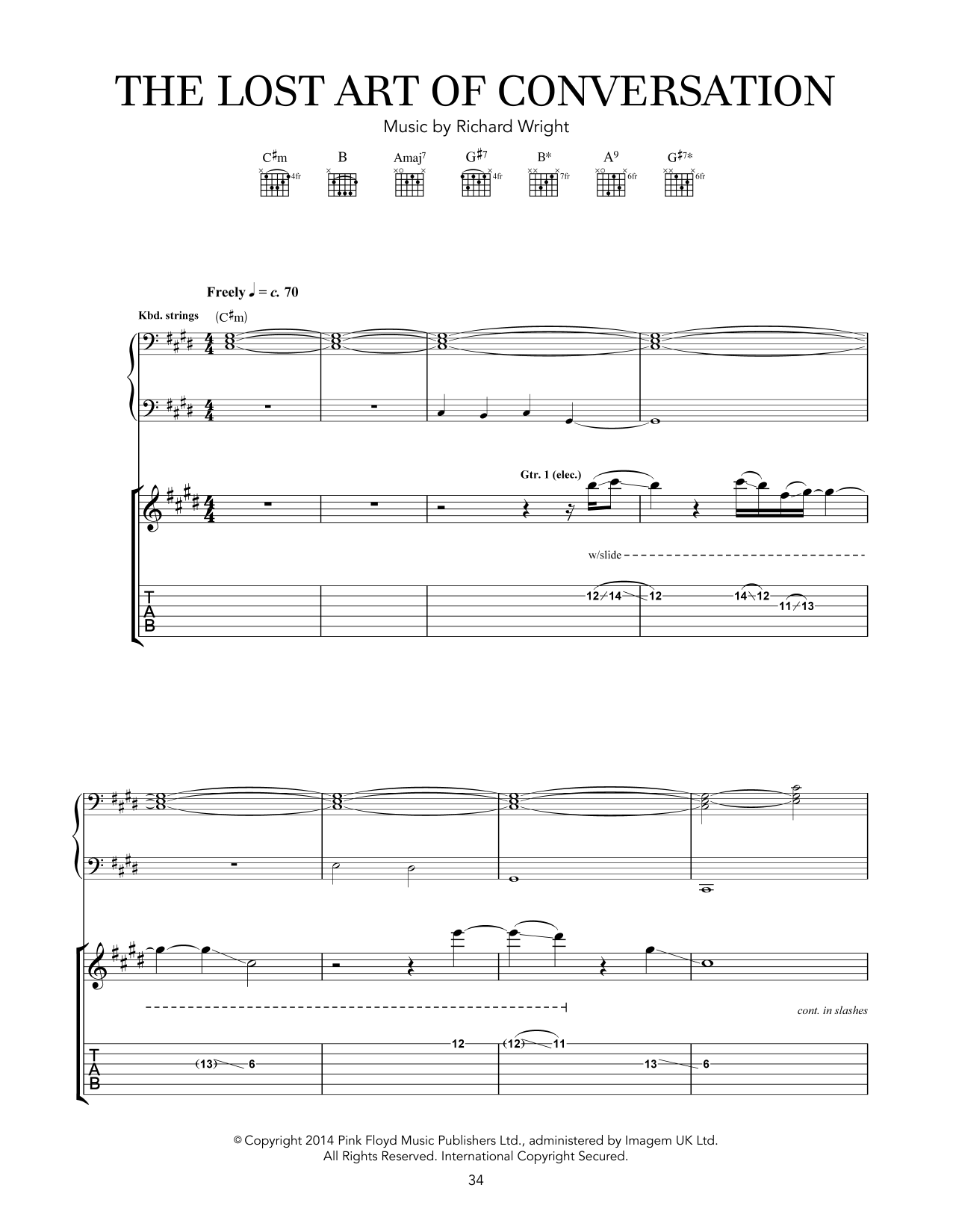 Pink Floyd The Lost Art Of Conversation sheet music notes and chords. Download Printable PDF.