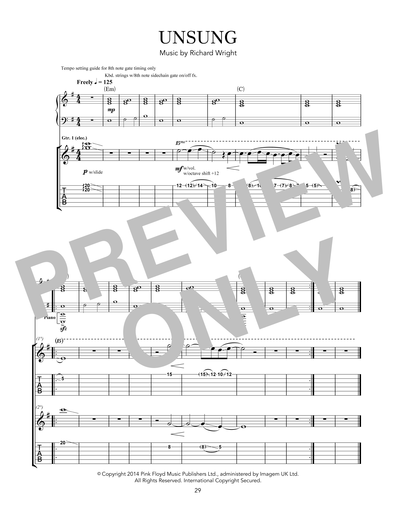 Pink Floyd Unsung sheet music notes and chords. Download Printable PDF.