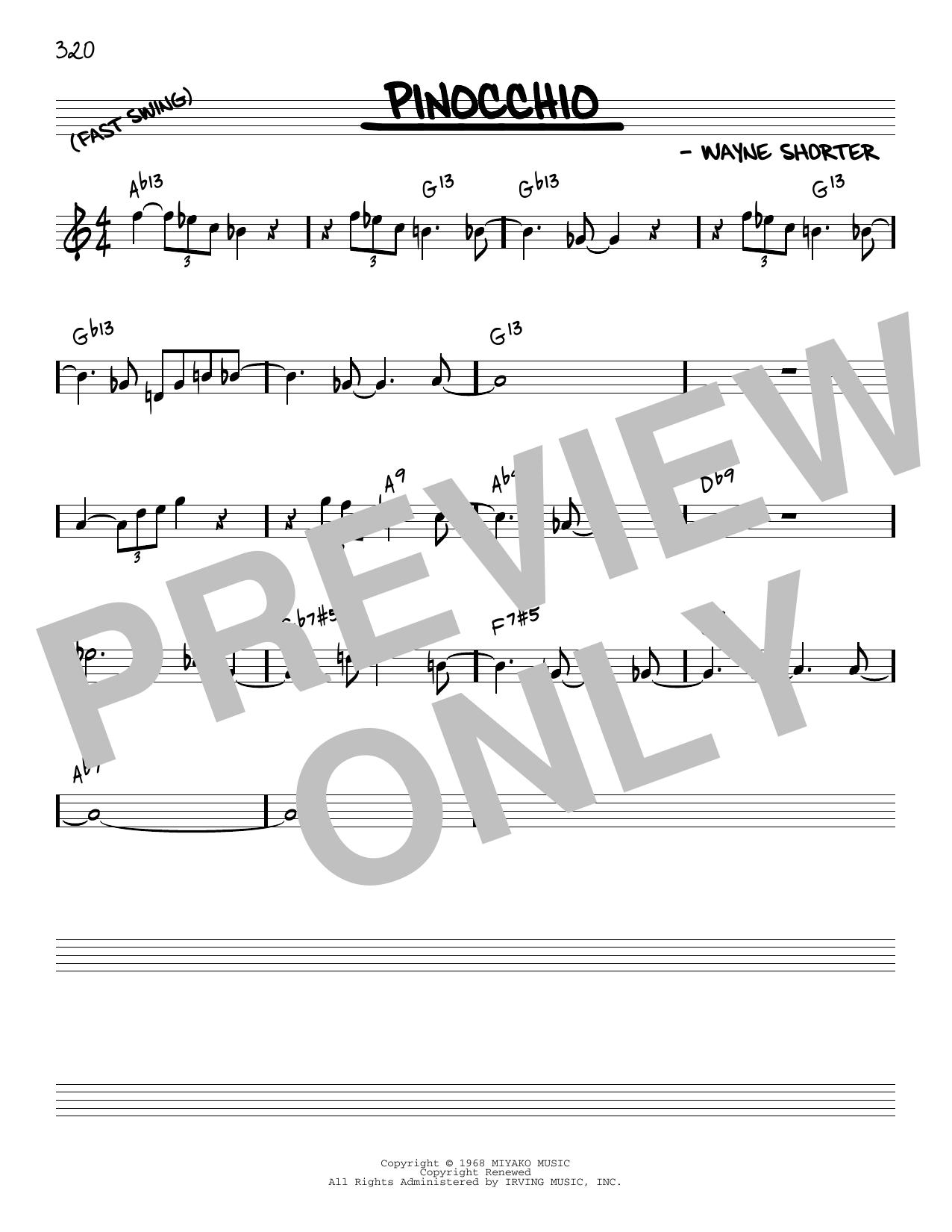 Wayne Shorter Pinocchio [Reharmonized version] (arr. Jack Grassel) sheet music notes printable PDF score