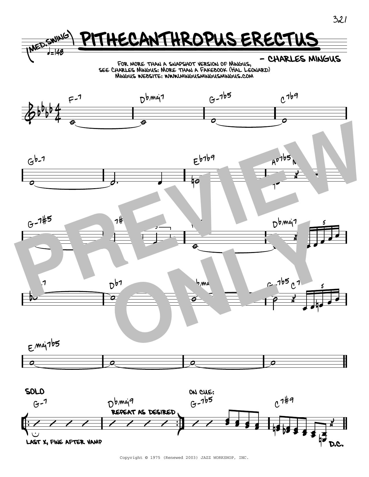 Charles Mingus Pithecanthropus Erectus [Reharmonized version] (arr. Jack Grassel) sheet music notes printable PDF score