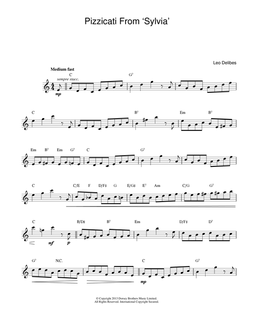 Leo Delibes Pizzicati From Sylvia sheet music notes printable PDF score