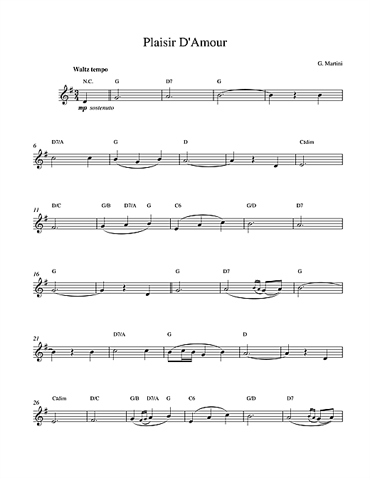Giovanni Martini Plaisir d'Amour sheet music notes printable PDF score