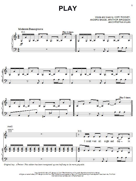 Jennifer Lopez Play sheet music notes printable PDF score