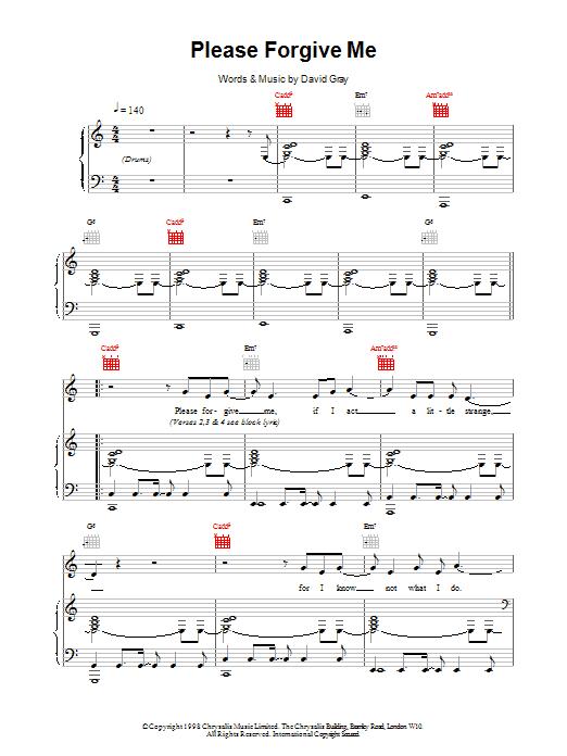 David Gray Please Forgive Me sheet music notes printable PDF score