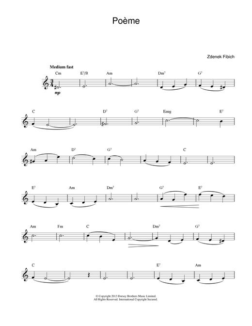 Zdenek Fibich Poeme sheet music notes printable PDF score