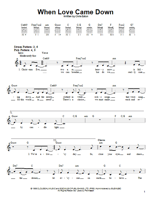 Point Of Grace When Love Came Down sheet music notes and chords. Download Printable PDF.