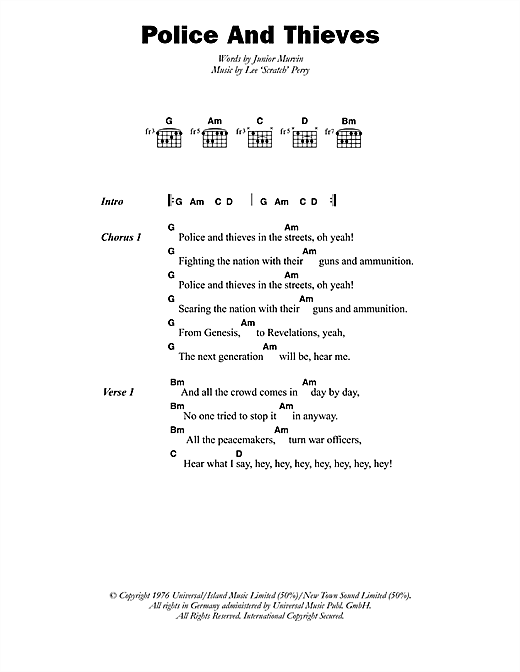 Junior Murvin Police And Thieves sheet music notes printable PDF score